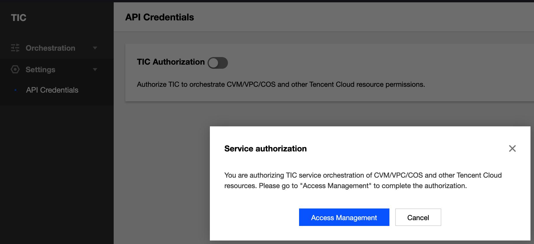 Enable TIC authorization