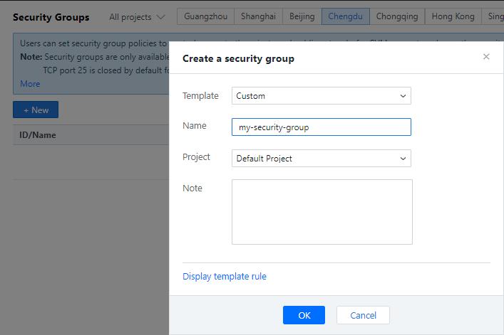 Set a security group