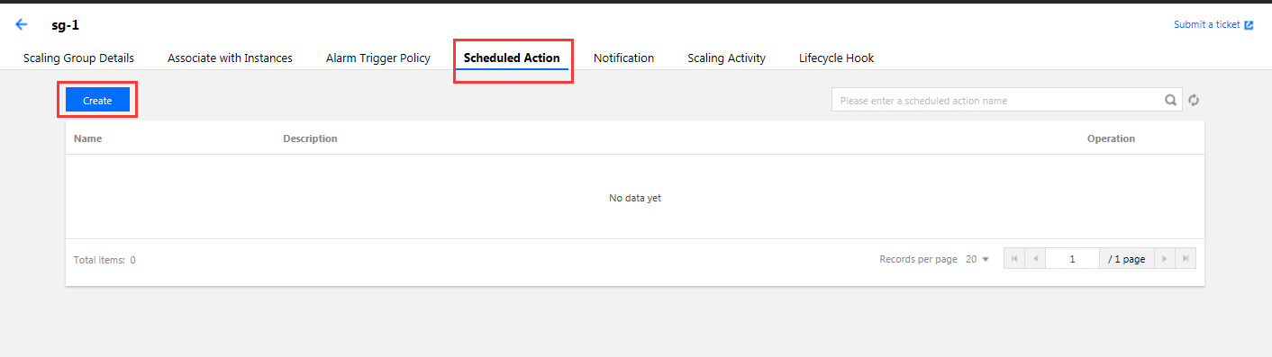 Scheduled scaling action