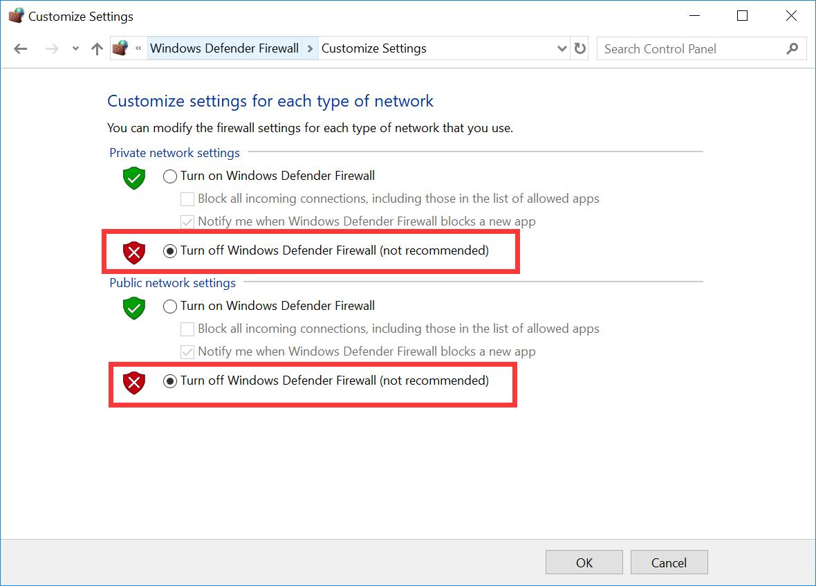 Turning off Windows Defender Firewall