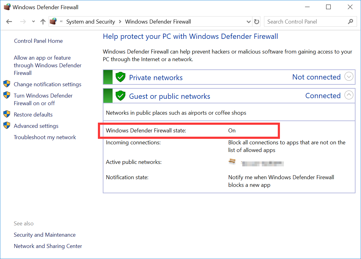 Windows Defender Firewall status