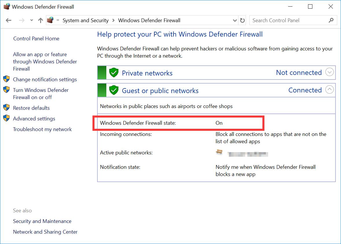 Windows Defender Firewall status