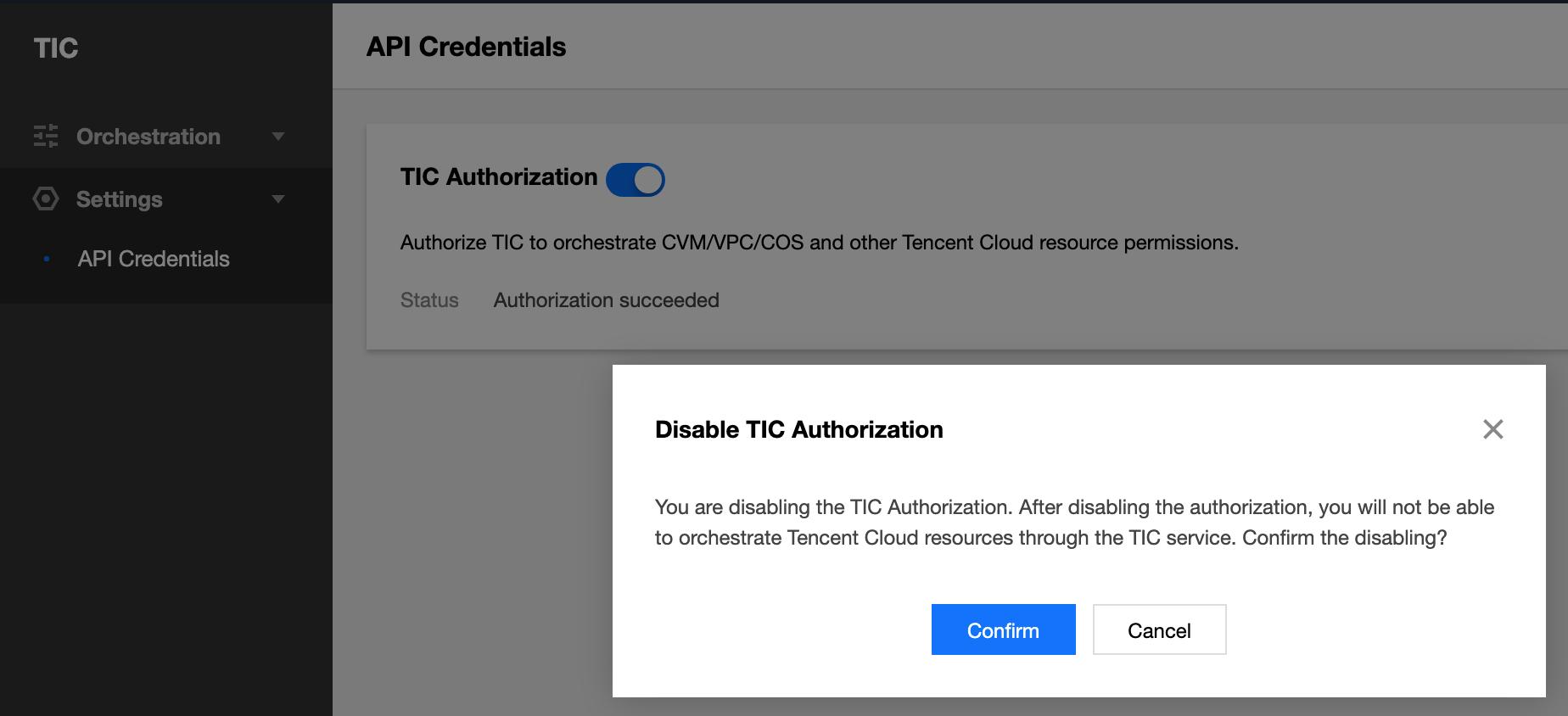 Disable TIC authorization